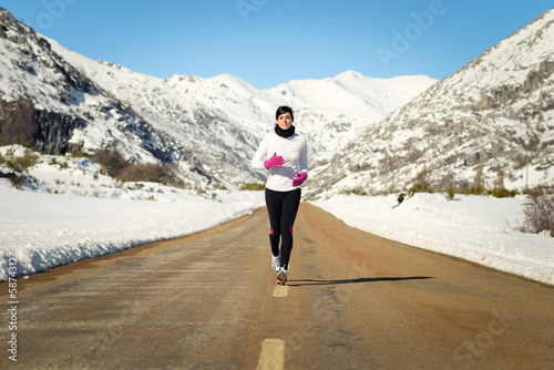 Cold winter running woman