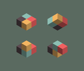 Isometric vintage cubes