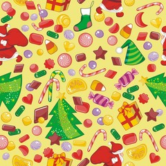 Christmas seamless pattern with candies and seasonal objects
