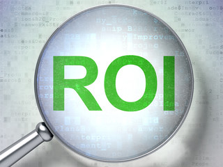 Business concept: ROI with optical glass