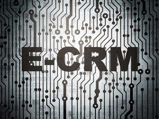 Business concept: circuit board with E-CRM