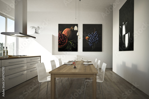 canvas print picture Moderne offene Küche weiss