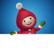 christmas elf cartoon character banner, hand gesture
