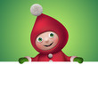 banner with funny christmas cartoon elf character