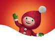 wave banner with christmas cartoon elf character