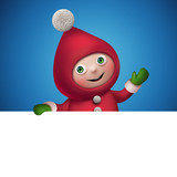 christmas elf cartoon character banner, hand gesture