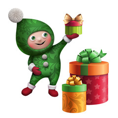 christmas elf cartoon character clip art with gifts