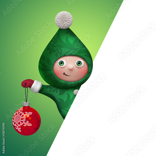 blank banner with christmas cartoon elf character