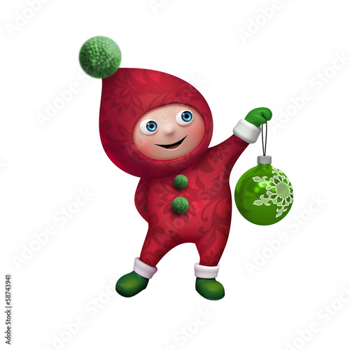 christmas elf cartoon character clip art with glass ball