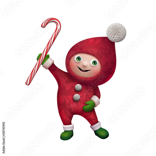 cute funny christmas elf cartoon holding candy cane