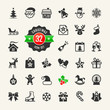 Christmas and winter holidays icon set. 32 vector icons