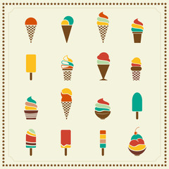 Vintage retro ice cream icons