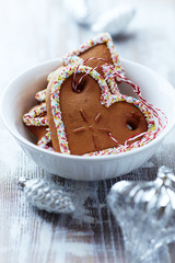 Gingerbread cookies in a white bowl