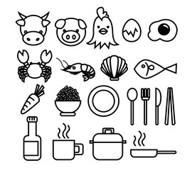 Set of Food and Drink Icon include ingredient and Cookware