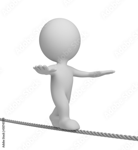3d person on a tightrope