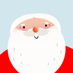 Cute cartoon smiling Santa face for Xmas greeting