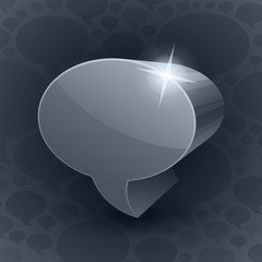 Shining 3d chat bubble symbol on grey background