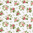Vector seamless pattern with colorful rose buds on blue.