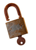 Old rusty padlock and key over white background..