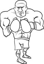 Boxer Sportler Cartoon Färbung Seite