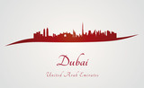 Dubai skyline in red