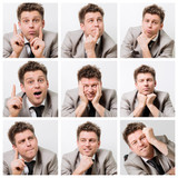 Collage of businessman posing and working at the office