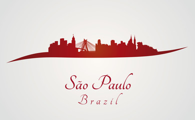 Sao Paulo skyline in red
