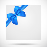 Gift certificate, Voucher, Coupon template. Blue bow, envelope