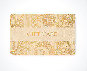 Gift card, discount card, coupon, ticket. Gold flora pattern