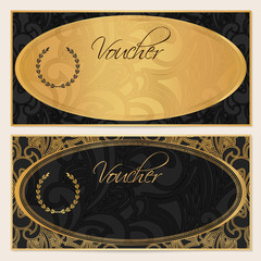 Gift certificate, Voucher, Coupon. Gold, black template