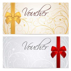 Gift certificate, Voucher, Coupon. Gold, template. Red bow