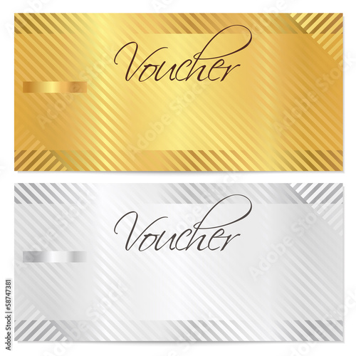 Voucher, Gift certificate, Coupon  template. Gold stripe pattern