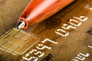 Close-up of a brown credit card