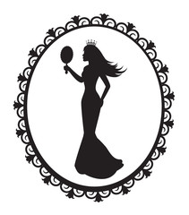 princess silhouette in the decorative frame