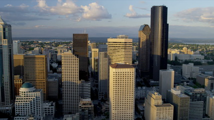 Aerial view at sunset of Columbia Center, Seattle USA