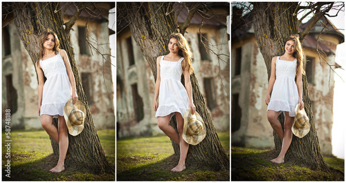 beautiful portrait girl with hat near a tree in the garden