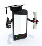 smartphone with arms and legs, Graduation Cap and Diploma