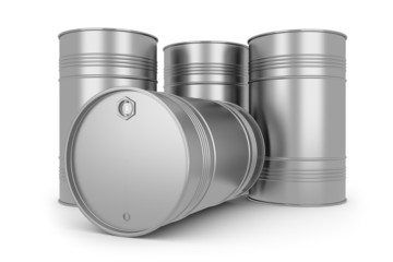 Steel silver oil barrels