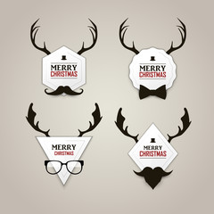 Christmas hipster labels set