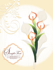 Calla lily, vintage wedding invitation card