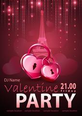 Valentine background. Disco poster