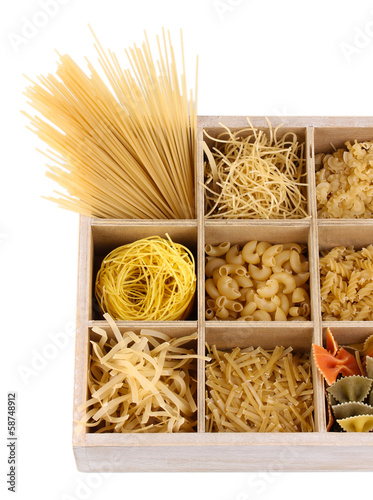 Nine types of pasta in wooden box sections isolated on white