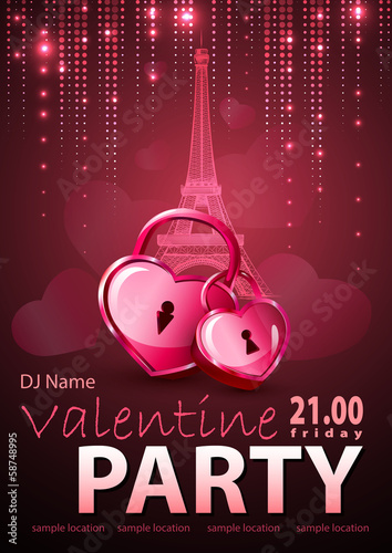 Valentine background. Disco poster