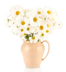 daisies in vase isolated on white