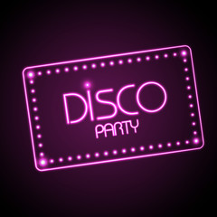 Neon sign. Disco party