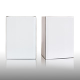 Blank white cardboard box on white background