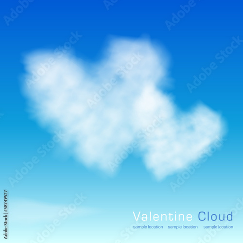 Valentine clouds. Two hearts