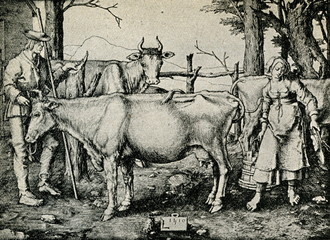 The Milkmaid (Lucas van Leyden, engraving, 1510)