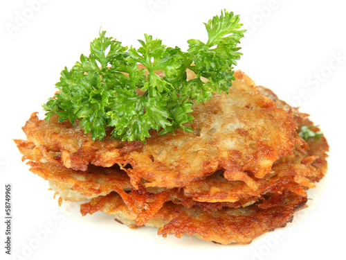 Potato pancakes, isolated on white