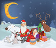 Santa Claus with his friends and Christmas gifts. Cartoon
